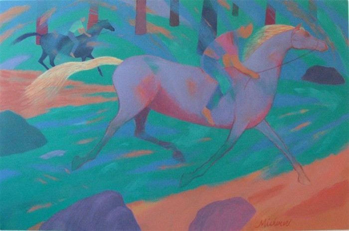 Robert Michener Bareback Race Through Woods-44x68