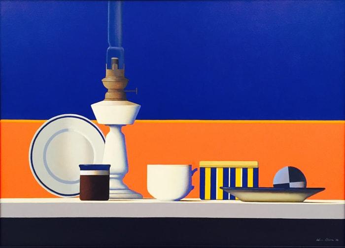 Wim Blom Blue and Red Still life 18x26