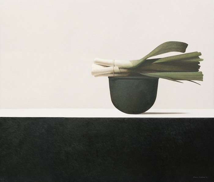Wim Blom Leeks on a copper vessel 24x28