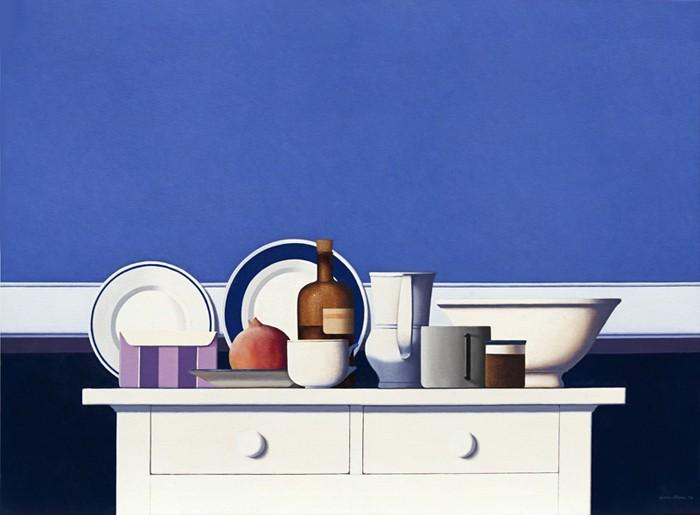 Wim Blom White and blue still life 28x34
