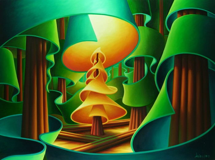 Dana Irving Golden Spruce Illuminated Painting