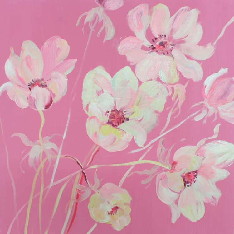 Krista Johnson Colour Block-Pink Anemones 16x16