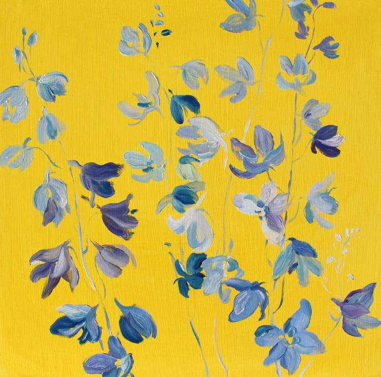 Krista Johnson Colour Block-Yellow Delphiniums 16x16