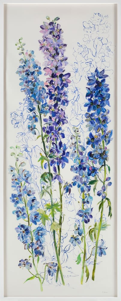 Krista Johnson Delphiniums-Protection 65x26